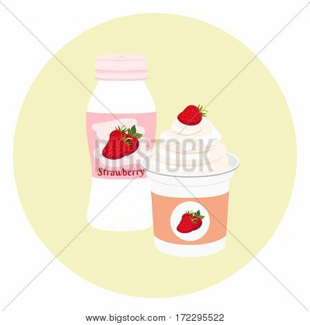 Yogurt healthy cream milk product in plastic container and bottle. Milky nutrition diet with strawberry, organic food with berries.