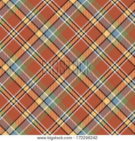 Brown orange color tartan seamless fabric texture. Vector illustration.