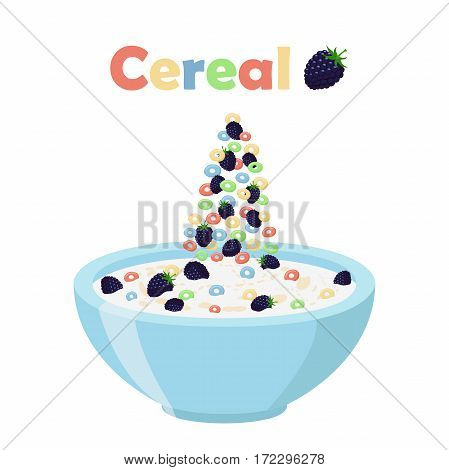 Cereal rings, blackberry with bowl. Oatmeal breakfast with milk, organic muesli. Flat vector style.