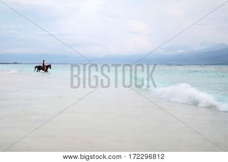 Gili Trawangan, Indonesia - 25 January 2017: man on horse stands on the shore partially in the sea water on the background of the cloudy sky. Editorial photo. Horizontal.