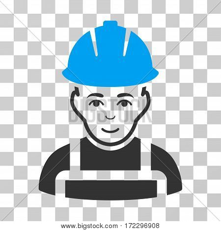 Glad Worker vector pictograph. Illustration style is flat iconic bicolor blue and gray symbol on a transparent background.