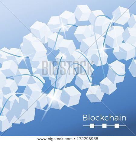 Blockchain technology concept. Isometric vector illustration of distributed database for cryptography, virtual money, secure e-business or web security. Background of cubic nodes with sparkles and connection lines.