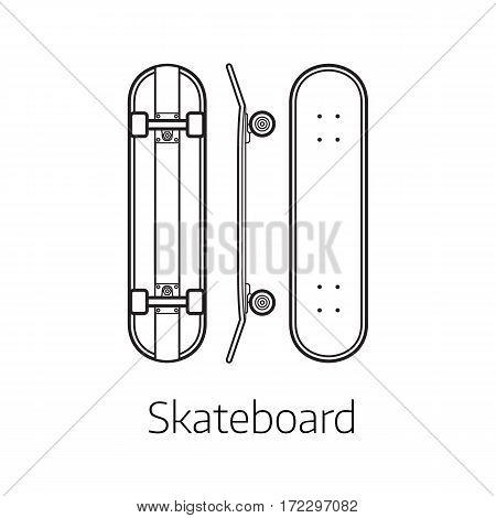 Skateboard deck vector illustration. Alternative city transport skate board in thin line design. Personal transportation self-balancing device. Skating desk from different sides.