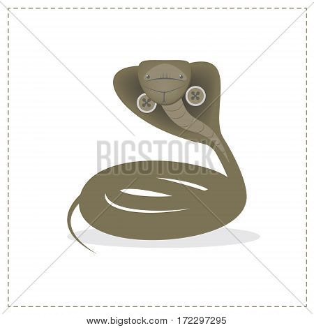 Snake Cobra isolated on white background. The character plush toy. Vector cartoon