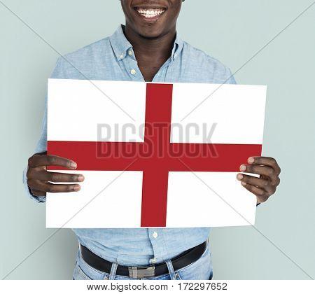 Man Hands Hold England UK Flag Patriotism