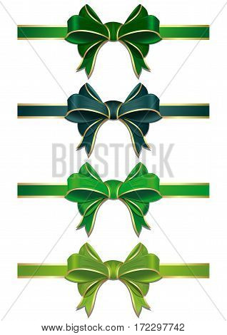Set of green bows isolated on white. Vector scalable green ribbons with bows. Green ribbons in different shades isolated on white background. Green ribbons with bows to St. Patrick's day or Easter
