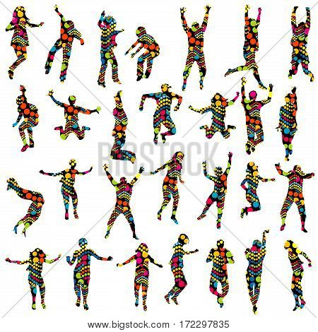 Dotted pattern adults and children silhouettes jumping