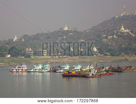 Cargo Boats On The Irrawaddy River