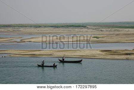 Wooden Boats On The Irrawaddy River
