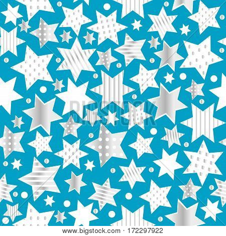 Seamless blue  background with stylized patterned stars