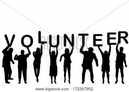 Volunteer concept with people silhouettes holding letters with word VOLUNTEER