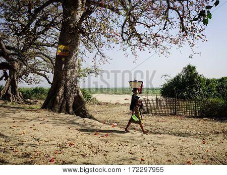 People On Rural Road In Mandalay, Myanmar