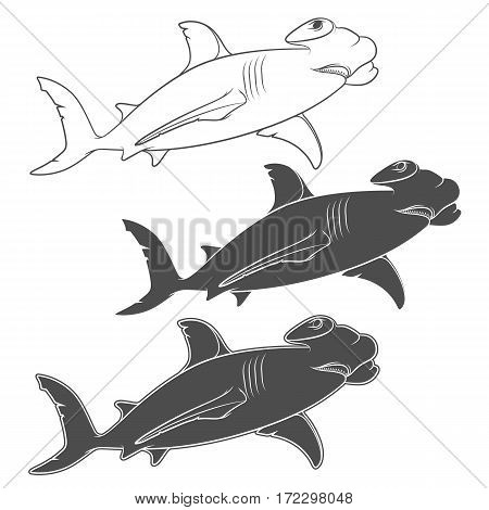 Vector set of illustrations depicting the hammer shark. Isolated objects on a white background.