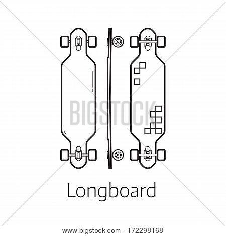 Longboard deck vector illustration. Alternative city transport long skateboard in thin line design. Personal transportation self-balancing device. Skating desk from different sides.