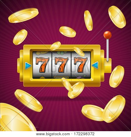 Casino Concept Slot Machine with One Arm Gambling and Golden Coin Falling. Vector illustration