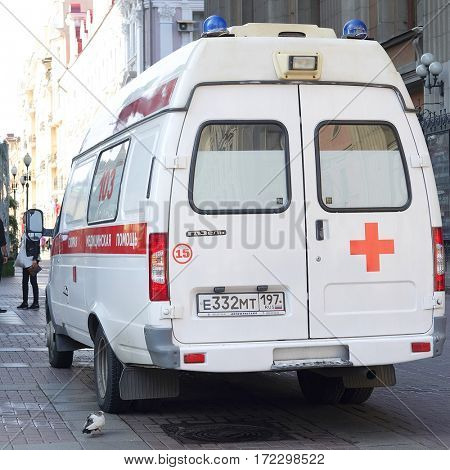 Moscow, Russia - September, 12, 2016: emergency ambulance on Arbat street in Moscow, Russia