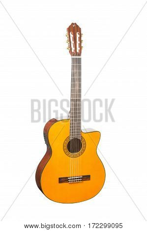 Natural Wooden Classical Acoustic Guitar Isolated on a White Background