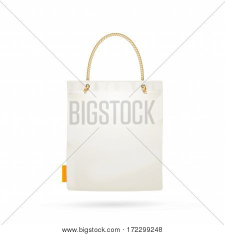 Template Blank White Fabric Cloth Tote Bag Empty Mock Up Design Element. Vector illustration