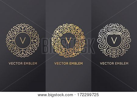 Vector Set Of Logo Design Templates And Monogram Frames