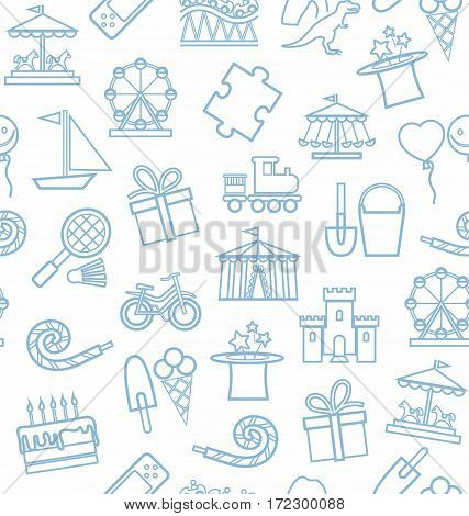 Children's entertainment and leisure, background, seamless, white, blue. Vector background with objects for the entertainment of children. Grey-blue linear image on a white field.