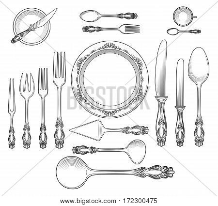 Hand drawn top view empty table dish with plate and spoon, knife and fork vector illustration
