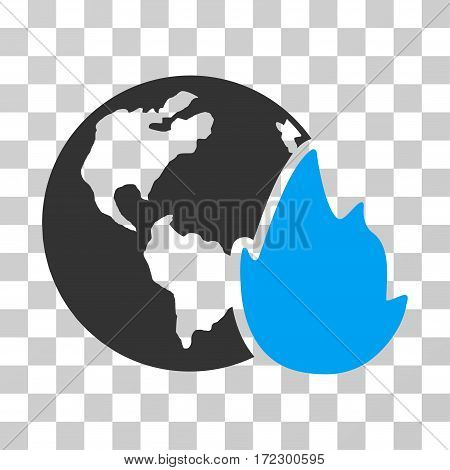 Planet Flame vector icon. Illustration style is flat iconic bicolor blue and gray symbol on a transparent background.