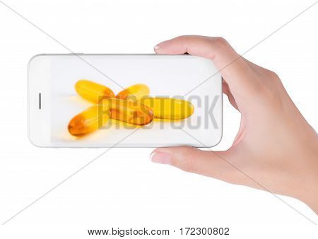 Woman using her smart phone searching Multi vitamin information group of pills in health care and medicine concept Isolated on white background.