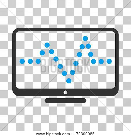 Pulse Chart vector pictograph. Illustration style is flat iconic bicolor blue and gray symbol on a transparent background.