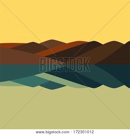 Vector color illustration of mountain panorama landscape and river