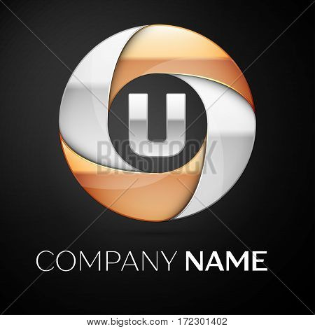 Letter U vector logo symbol in the colorful circle on black background. Vector template for your design