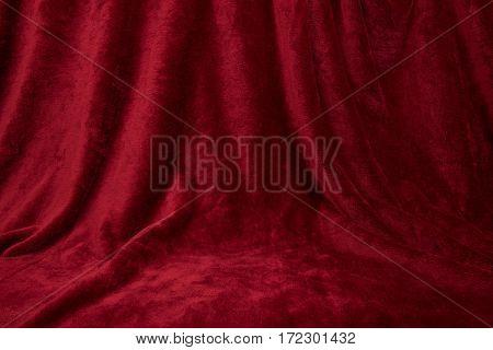 Velvet red draped curtain cloth full frame