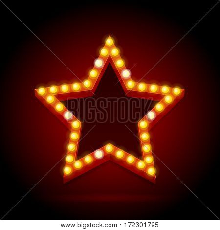 Light Bulbs Vintage Neon Glow Star Shape on Dark Red Background Can Be Used for Cinema, Casino, Show or Cafe Bar Design. Vector illustration