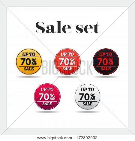Sale set 70% off sticker, banner, Emblem sale isolated on white background. Big sale, special offer, discounts. Vector illustration.