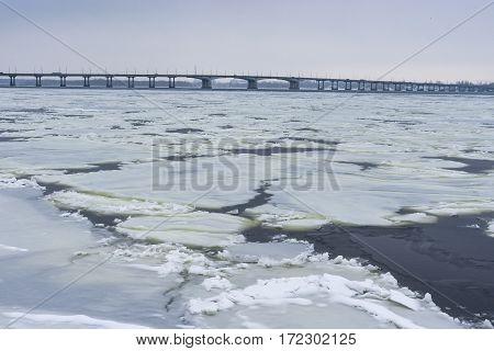 Winter landscape with Dnepr river in Dnepr city Ukraine