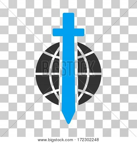 Sword Globe vector pictogram. Illustration style is flat iconic bicolor blue and gray symbol on a transparent background.