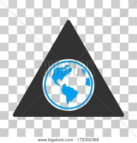 Terra Triangle vector pictogram. Illustration style is flat iconic bicolor blue and gray symbol on a transparent background.
