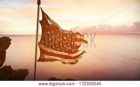 Ripped Tear Grunge Old American Usa Flag, Stars And Stripes At Sunset, With Sun Rays Light