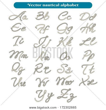 Thread rope font letters vector illustration. Vector nautical alphabet isolated on white background