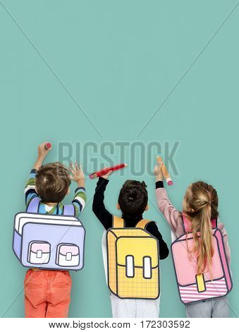 Group of Kids Portrait Classmate Schooler