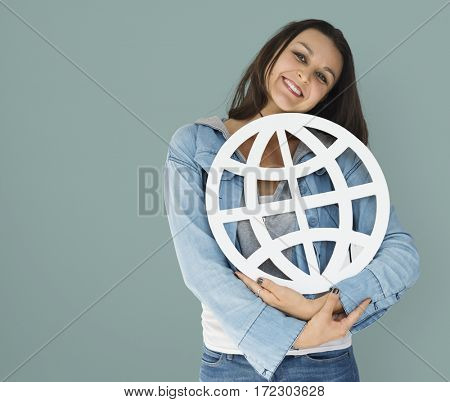 Young woman holding networking paper symbol