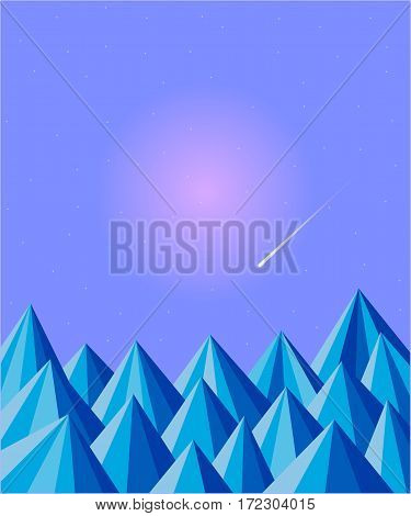 Polygon abstract blue winter mountains background with starry sky and copy space for text.