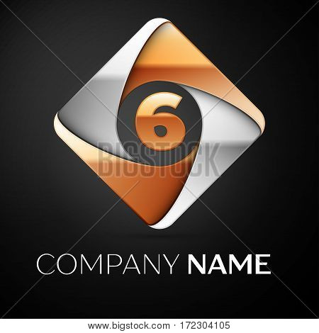 Number six vector logo symbol in the colorful rhombus on black background. Vector template for your design