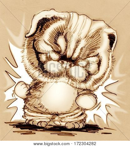 French Bulldog puppy cute cartoon fighting acting Character design pencil sketch hand draw sepia color mono tone.