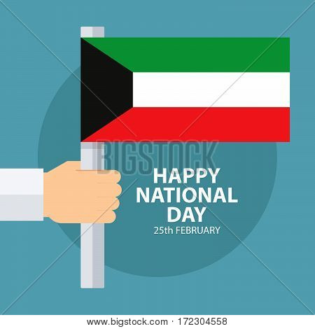 Kuwait National Day greeting card with hand holding Kuwait flag. Flat design vector illustration.