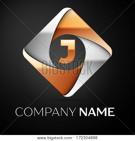 Letter J vector logo symbol in the colorful rhombus on black background. Vector template for your design