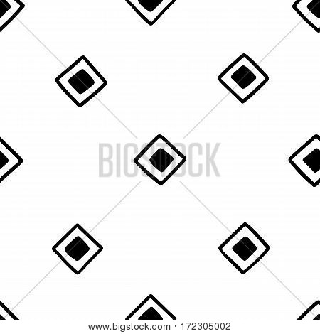 Seamless hand drawn geometric tribal pattern with random squares. Vector navajo design illustration.