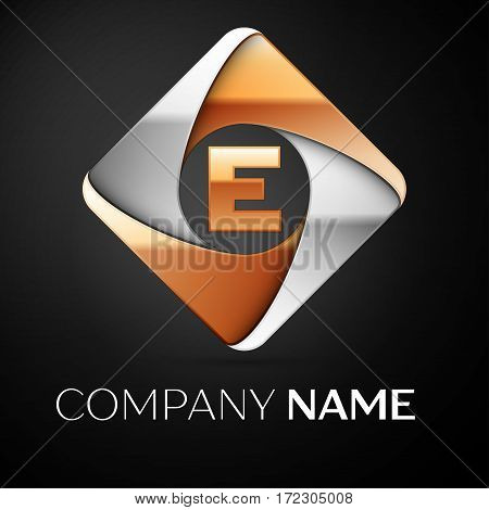 Letter E vector logo symbol in the colorful rhombus on black background. Vector template for your design