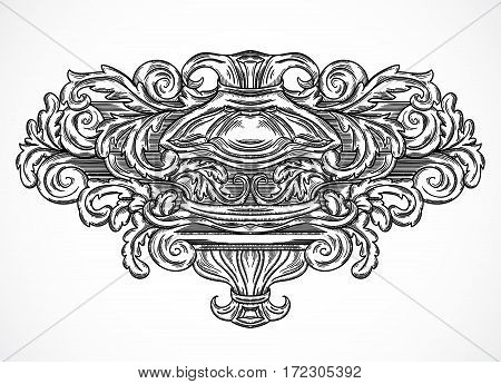 Vintage architectural details design elements. Antique baroque classic style cartouche in engraving style. Hand drawn vector illustration