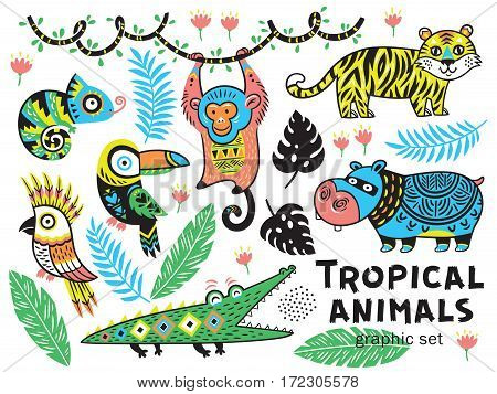 Set of tropical animals with crocodile, tiger, monkey, hippopotamus and chameleon. Vector illustration. Cute characters for children is design