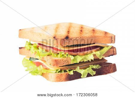 Freshly made clubsandwiches served on a white background
